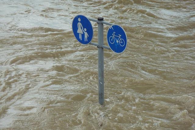 水に浸る標識